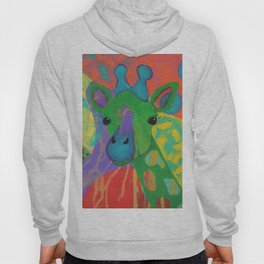 Whimsical Abstract Giraffe in Jewel Tone Colors Green Aqua Purple Blue Yellow Hoody