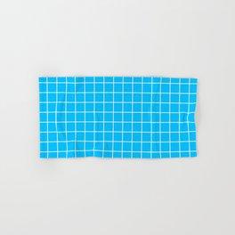 Capri - turquoise color - White Lines Grid Pattern Hand & Bath Towel