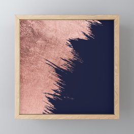 Navy blue abstract faux rose gold brushstrokes Framed Mini Art Print