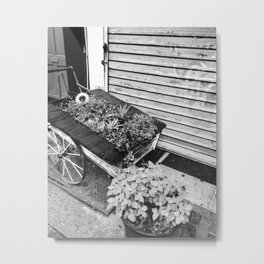 Black and White Flower Stand Metal Print