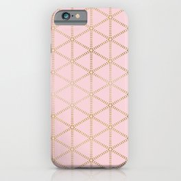 Hint of Gold-Millennial Pink and Gold Pattern iPhone Case