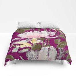 tulips on plum Comforters