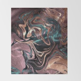 Metallic Rose Gold Marble Swirl Throw Blanket