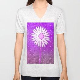 Pink Daisy Unisex V-Neck