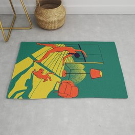 Dancing with the cat | Moody sunset light and shadows Aesthetic Green room Naked dance Femme Fatale  Rug