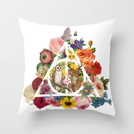 Floral Deathly Hallows Owl and Stag - White Throw Pillow
