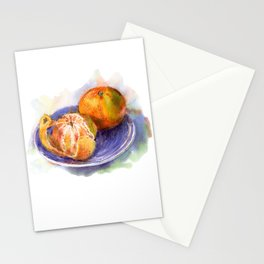 Mandarine whole and peeled on a blue plate. Watercolor hand-drawn. Stationery Cards
