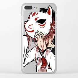 Behind the Mask - Kitsune Masked School Girl Clear iPhone Case