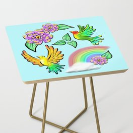 Birds Flowers and Rainbows Doodle Pattern Side Table
