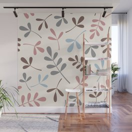 Assorted Leaf Silhouettes Pastel Colors Wall Mural