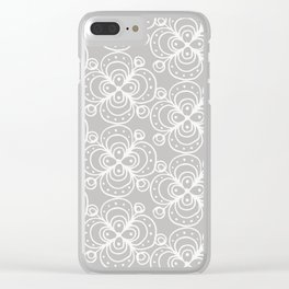 Silver grey lacey floral Clear iPhone Case