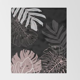 monstera leaves on black drawing Throw Blanket