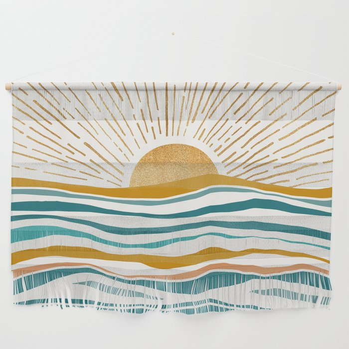The Sun and The Sea - Gold and Teal Wall Hanging