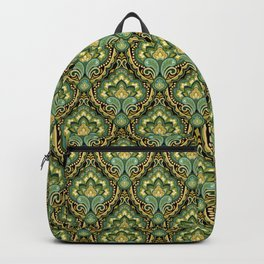 Golden Paisley Damask Backpack