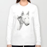 bull terrier Long Sleeve T-shirts featuring Dogs: Bull Terrier by Ruben Pino