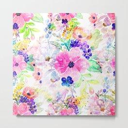 Pretty watercolor floral hand paint design Metal Print