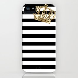Black and White Stripes and Gold Crown 2 iPhone Case