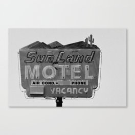 Vintage Neon Sign In Tucson - Sun Land Motel Canvas Print