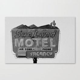 Vintage Neon Sign In Tucson - Sun Land Motel Canvas Print