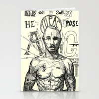 tupac Stationery Cards featuring Tupac: On the 3rd day HE ROSE A G. by Maddison Bond