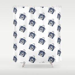 Blue / Grey Céline Vibes High Fashion Purse Illustration Shower Curtain