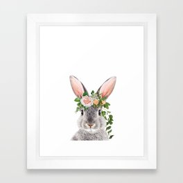 Baby Rabbit, Bunny With Flower Crown, Baby Animals Art Print By Synplus Framed Art Print