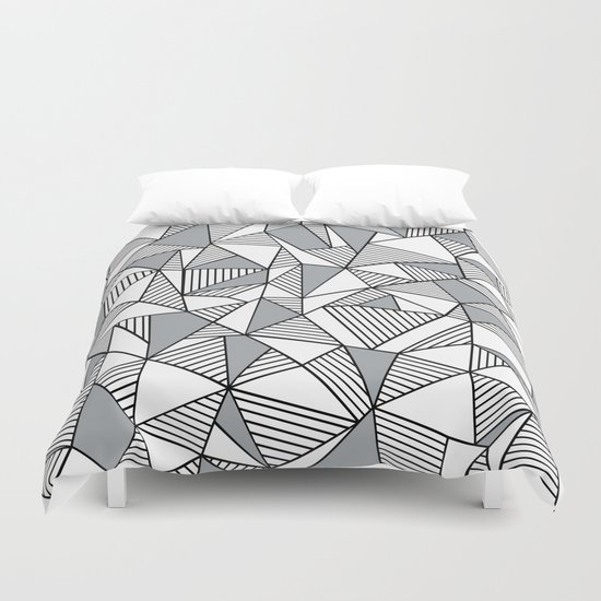 Abstract Lines With Grey Blocks Duvet Cover
