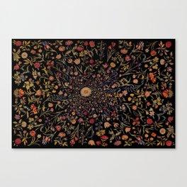 Medieval Flowers on Black Canvas Print
