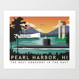 Pearl Harbor, HI - Retro Submarine Travel Poster Art Print