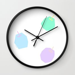 Words from Colorful Apples - fruits illustration Wall Clock