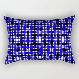 Strict blue tiles of intersecting white squares and black curly rhombuses. Rectangular Pillow