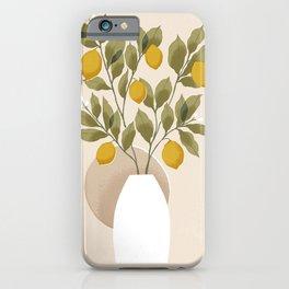 Neutral Lemons // Vase with lemon branches illustration iPhone Case