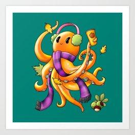 Autumn Octopus Art Print