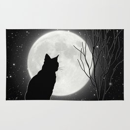 Silent Night Cat and full moon Rug