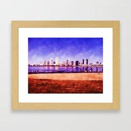 San Diego Skyline via Coronado Island, 2012 Framed Art Print