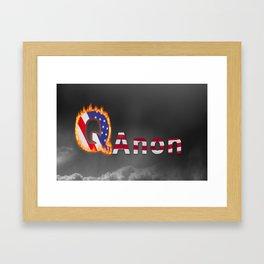 Q  or QAnon conspiracy icon on dark sky Framed Art Print
