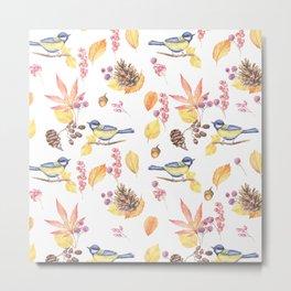 Watercolor pink blue yellow bird fall leaves floral Metal Print