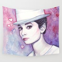 hepburn Wall Tapestries featuring Audrey Hepburn by Olechka