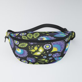 Green and blue folk on black (with bird) Fanny Pack