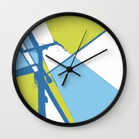 the wire Wall Clocks featuring High Wire by Ryan Johnson