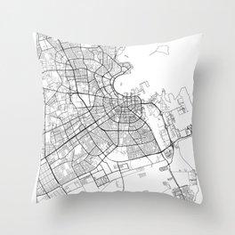 Doha Map White Throw Pillow