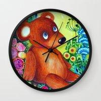 teddy bear Wall Clocks featuring teddy bear by oxana zaika