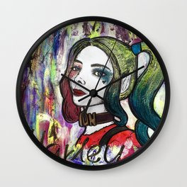 Nail Polish Paintng Of Harley Quinn Wall Clock