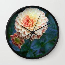 Pale orange dahlia Wall Clock
