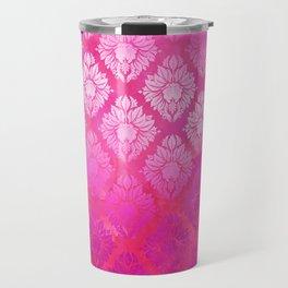 """""""Magenta Pink Damask Pattern"""" Travel Mug"""