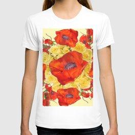 ORANGE POPPY FLOWERS GARDEN YELLOW ROSES ART T-shirt