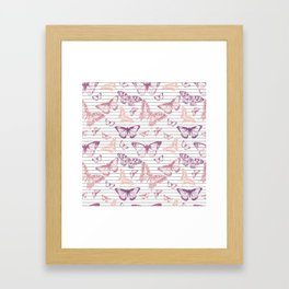 Minimal Black and White Stripes and Rose Gold Butterflies Framed Art Print