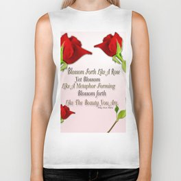 Red, Rose And pink With Quote Biker Tank