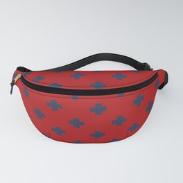 Navy Blue Swiss Cross Pattern on Red background Fanny Pack