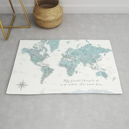 Where I've never been detailed world map in blue Rug